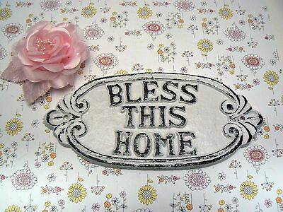 Bless This Home Shabby Chic White Cast Iron Welcome Entryway House Warming Sign