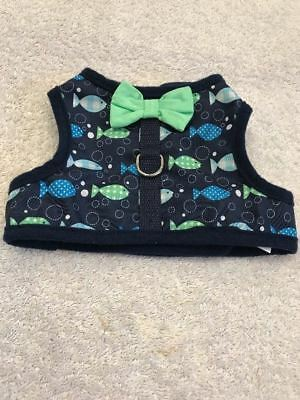 Cat Pet Harness Clothes Fashion Fish Design Pattern Blue With Green Bow Tie
