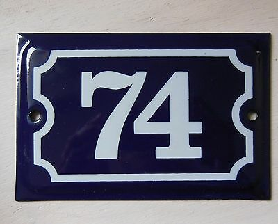 Antique French Dark Blue Enamel Porcelain Door House Gate Number Sign Plate 74