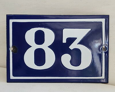 OLD FRENCH HOUSE NUMBER SIGN door gate PLATE PLAQUE Enamel steel metal 83 Blue