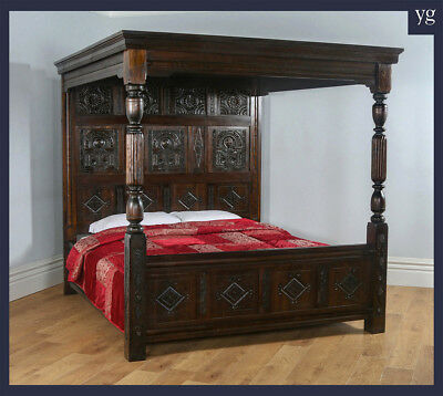 Tudor Style Carved Super King Oak Full Tester Four 4 Post Poster Bed (6ft Wide)