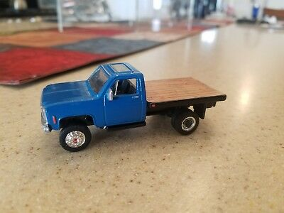 Matchbox Custom Chevy Flatbed Pickup Truck 4x4 Lifted Dually 1/64 Blue