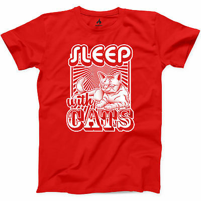 Sleep With Cats T Shirt Funny Cat Lady Kitty Mom Animal Love Graphic Tee S-3XL