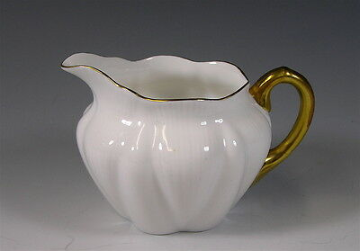 Shelley China Creamer, White with Gold Trim