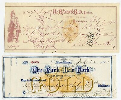 10 Different Old Bank Checks with Revenue Stamped Paper! One for $226,525.00!