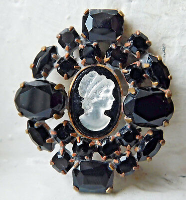 Vintage Style Czech Rhinestone Button~Cameo~Morning~Black Glass~Gold Setting