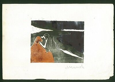 EDVARD MUNCH - old woodcut signed on original paper of 800's -