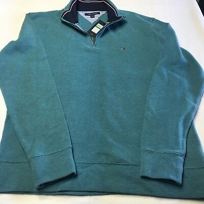 NWT Tommy Hilfiger Mens M L Teal Pull Over Quarter Zip Knit Sweater MSRP $79.50