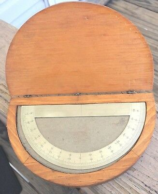 "vintage  "" PROTRACTOR""  in wooden box"