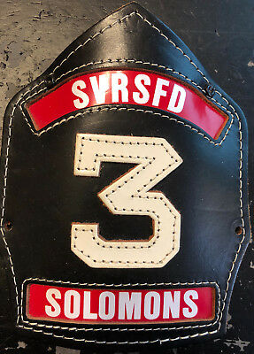 LEATHER FIRE HELMET FRONT SHIELD - Solomon's Vol Rescue Squad and FD (Cairns)