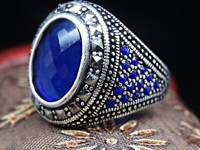Turkish Jewelry 925 Sterling Silver Sapphire Stone Mens Ring Sz 12  FREE RESIZE