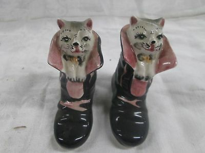 Vtg 50's Japan Puss In Boots S+P Shaker Pair Salt And Pepper Set Novelty Figural