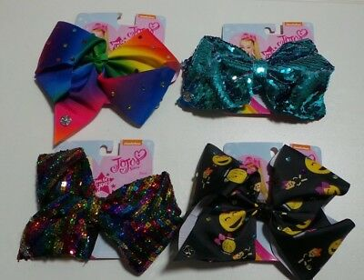 🎀 LOT of 4 JOJO  Siwa Large BOW  🎀 colorful rainbow sequin rhinestone emoji
