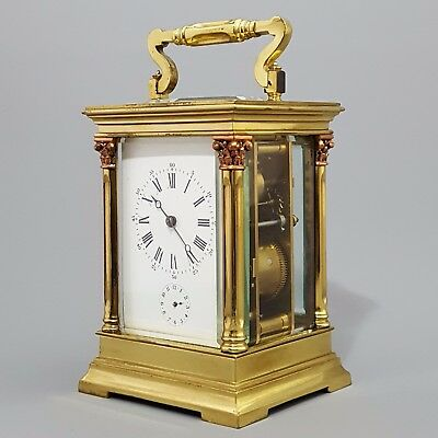 Antique Large Columnated French Striking Carriage Clock c.1890