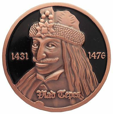 Medal / Coin with Count Dracula, Vlad the Impaler Tepes, Portrait, Bust, Figure