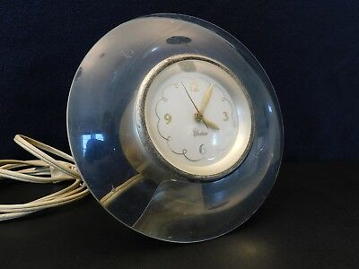 Vintage Old Chelsea Unique Style Thick Curved Lucite Antique Clock & Working !!