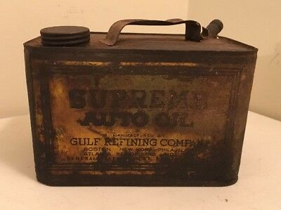Supreme Auto Oil Can Gulf Refining Company Empty Vintage Antique Gas Man Cave