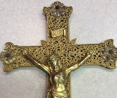 "Antique Large 9"" Brass Ormolu Crystal Glass Filigree Crucifix Cross French Wall"