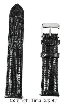 22 mm BLACK LEATHER WATCH BAND LIZARD GRAIN WITH SPRING BAR