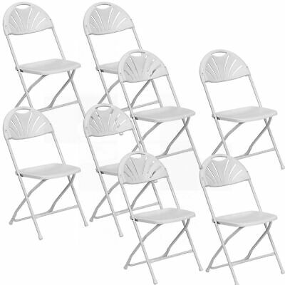 Event Party 8 White Fan Back Folding Chair 300 Lb Capacity Indoor Outdoor Chairs