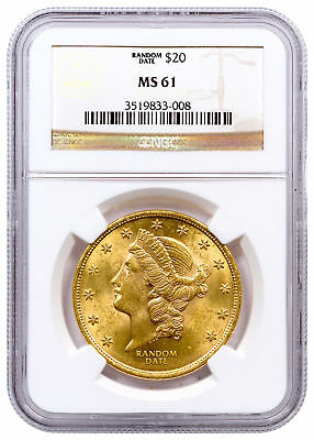 1887-1907 Liberty Head (With Motto) $20 Gold Double Eagle NGC MS61 SKU49371