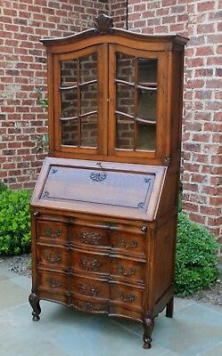 Antique French Oak Rococo Secretary Bookcase Fall Front Desk Serpentine SLIM