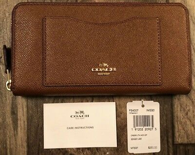 *NEW WITH TAGS* Coach Saddle 2 Crossgrain Leather Accordion Zip Wallet  F54007