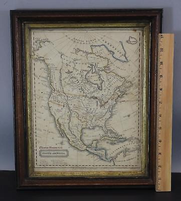 19thC Antique 1821, Hand Colored, North America Map Engraving