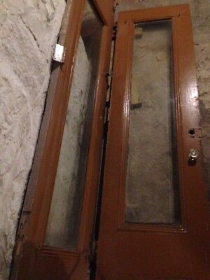 "Vintage Brownstone Double Doors Solid Wood with Heavy Glass 51 1/2 "" X 95 5/8"""