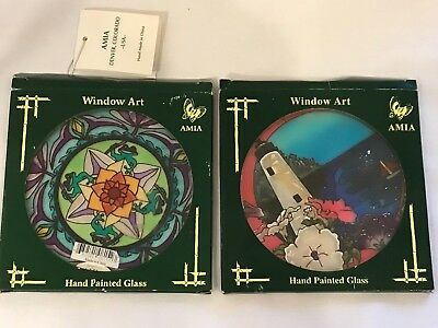 •£ Amia Stained Glass Window Art Hanging Suncatchers Hand-Painted