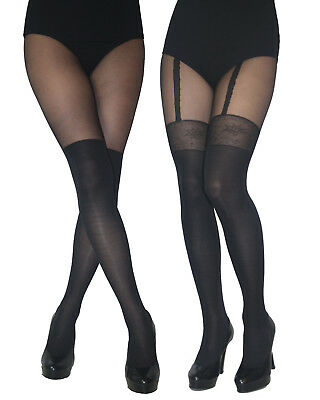 MOCK SUSPENDER TIGHTS with  Imitating Stockings Patterned New