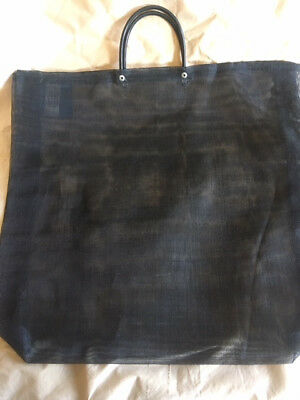 Mexican Market Bags - Set of 4 Large - Black Mesh - 17 x 18 x 3 - Black Handle