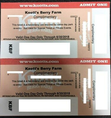 KNOTTS BERRY FARM! Adult or Child - 2 Tickets! Buena Park, CA. FREE SHIPPING!!!