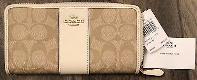 *NEW WITH TAGS*  Coach Sign PVC Zip Around Wallet in Light Khaki/Chalk F54630