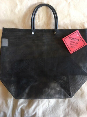 Mexican Market Bags - Set of 7 - Medium - Black Mesh - Black Handle -14 x 11 x 6