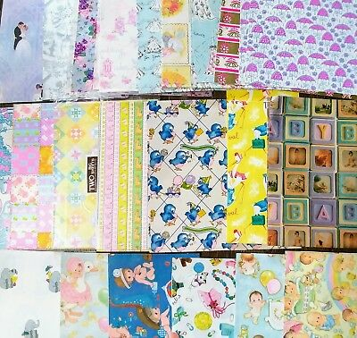 Vintage lot wedding shower baby elephant stork gift wrapping paper scrapbook
