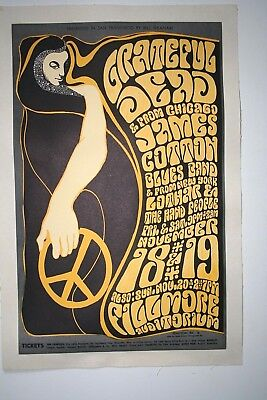 Fillmore Poster Wes Wilson BG 38 First Print Featuring The Grateful Dead.