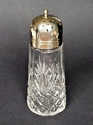 Sugar Sifter Pressed Glass and EPNS silver plated pierced top