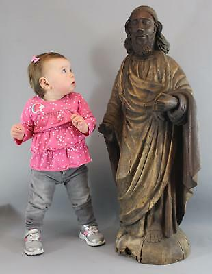 Large Antique 18thC Hand Carved Wood JESUS CHRIST Religious Carving Statue NR