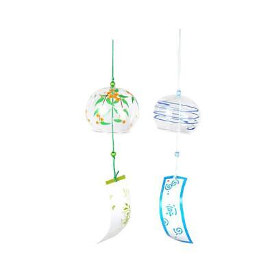 2x Japanese Glass Wind Chime Bell Hanging Ornament Gift Home Window Decor #6