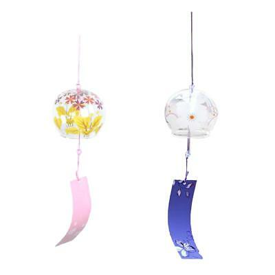 2x Japanese Glass Wind Chime Bell Hanging Ornament Gift Home Window Decor #2