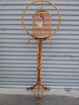 Vintage Chinese / Asian Bamboo Birdcage and Bamboo Floor Stand Handmade Striking