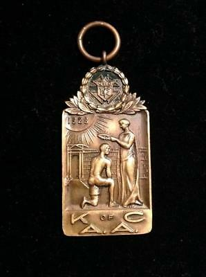 Antique ENRIGHT 1928 Gold Tone K of C Open AAU 1 Mile Track Medal Key Watch FOB