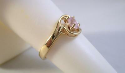 Estate 10K Solid Yellow Gold .25ct Pink Ice Ring  1.8G  Size 5.5  .99c Auction