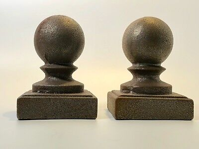 Cast Iron Finial Topper Ball Architectural Antique Set