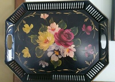 Beautiful Vintage Hand Painted Floral Handled Serving Tray Tole Ware Metal