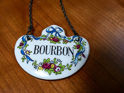 Vintage Crown Staffordshire Bone China Porcelain Decanter Label Tag - Bourbon