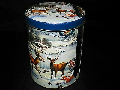 Collectible Metal/Tin Can with lid, Deer Holiday Can - Free Shipping