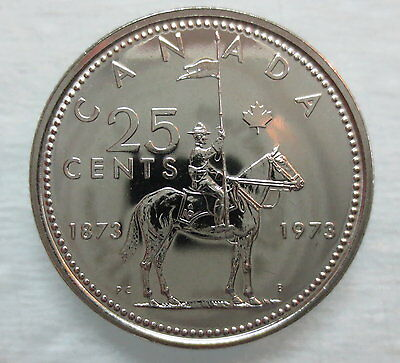 1973 Canada 25 Cents Rcmp Mountie Proof-Like Quarter Coin