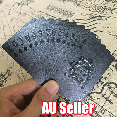 Playing Cards Waterproof Matte Black Foil Plated Poker Card Table Game 54pcs  ON